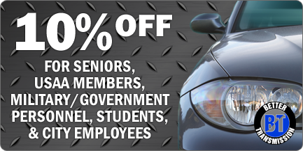 10% Off - For Seniors, USAA Members, Military/Government Personnel, Students, & City Employees